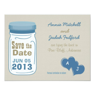 Sweet Country Mason Jar Save the Date 4.25x5.5 Paper Invitation Card