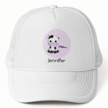 Sweet cow cartoon on pink name girly hat