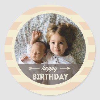 Sweet Cream Retro Happy Birthday Striped Sticker
