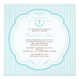 Sweet Cross Baby Girl Or Boy Baptism Inviation Card