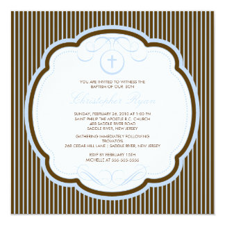 Sweet Cross Blue & Brown Boy Baptism Inviation Card