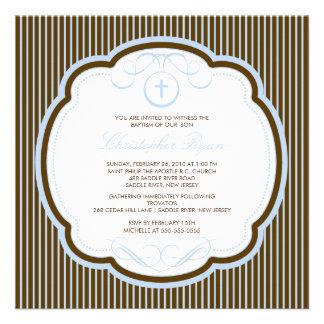 Sweet Cross Blue Brown Boy Baptism Inviation Custom Invitations