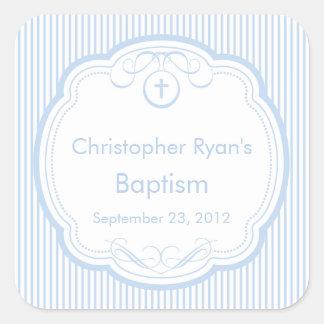 Sweet Cross In Frame Baptism Favor Seal Boy Blue Square Sticker