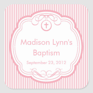 Sweet Cross In Frame Baptism Favor Seal Pink