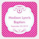 Sweet Cross In Frame Baptism Favor Seal Pink Sticker