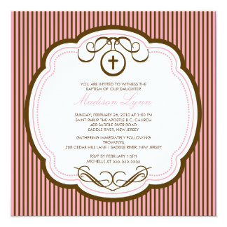 Sweet Cross Pink Baby Girl Baptism Inviation Card