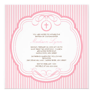 Sweet Cross Pink Baby Girl Baptism Inviation Announcement