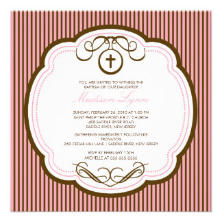 Sweet Cross Pink Baby Girl Baptism Inviation Invitation