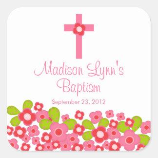 Sweet Cross Pink Floral Baptism Favor Seal Square Sticker