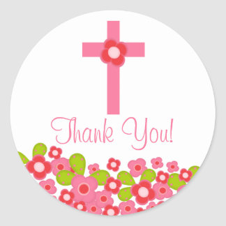 Sweet Cross Pink Floral First Holy Communion Classic Round Sticker