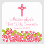 Sweet Cross Pink Floral First Holy Communion Square Stickers