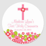 Sweet Cross Pink Floral First Holy Communion Sticker