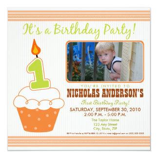 Sweet Cupcake 1st Birthday Party Invitation Orange