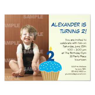 "Sweet Cupcake 2nd Birthday Party 4.25"" X 5.5"" Invitation Card"