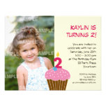 Sweet Cupcake 2nd Birthday Party Invitation