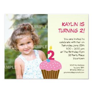 "Sweet Cupcake 2nd Birthday Party Invitation 4.25"" X 5.5"" Invitation Card"