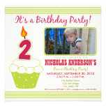 Sweet Cupcake 2nd Birthday Party Invitation Lime
