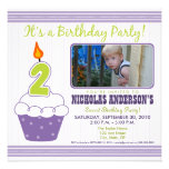 Sweet Cupcake 2nd Birthday Party Invitation Purple