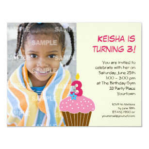 Sweet Cupcake 3rd Birthday Party Invitation