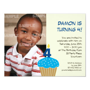 Sweet Cupcake 4th Birthday Party Invitation