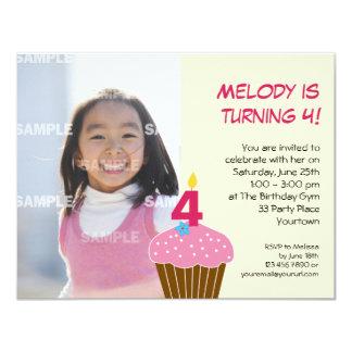 Sweet Cupcake 4th Birthday Party Invitation