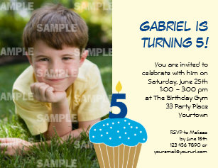 Sweet Cupcake 5th Birthday Party Invitation