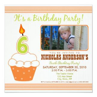 Sweet Cupcake 6th Birthday Party Invitation Orange