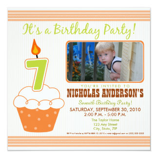 Sweet Cupcake 7th Birthday Party Invitation Orange