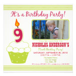 Sweet Cupcake 9th Birthday Party Invitation Lime