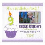 Sweet Cupcake 9th Birthday Party Invitation Purple