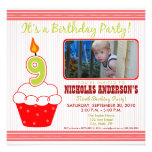 Sweet Cupcake 9th Birthday Party Invitation Red