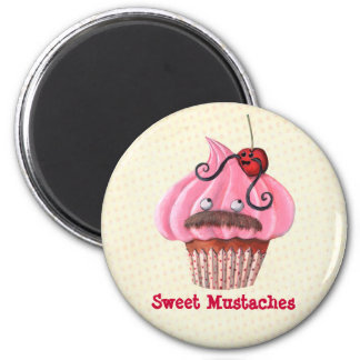Sweet Cupcake and Mustaches 2 Inch Round Magnet