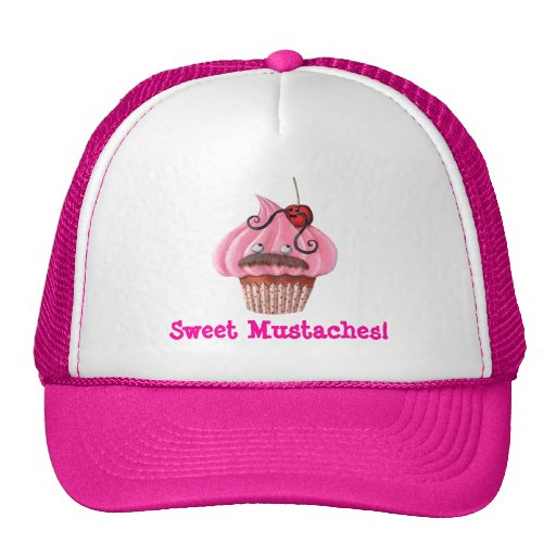 Sweet Cupcake and Mustaches Mesh Hats