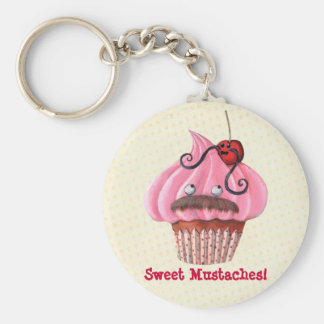 Sweet Cupcake and Mustaches Keychain