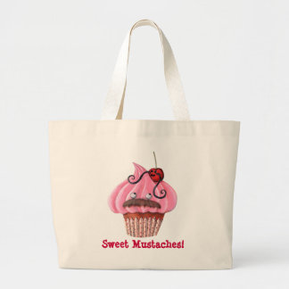 Sweet Cupcake and Mustaches Large Tote Bag