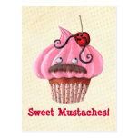 Sweet Cupcake and Mustaches Postcard