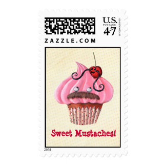 Sweet Cupcake and Mustaches Stamp