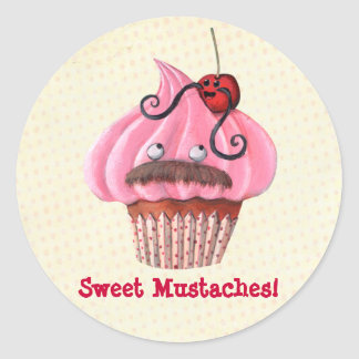 Sweet Cupcake and Mustaches Round Stickers