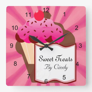 Sweet Cupcake Bakery Square Wall Clock