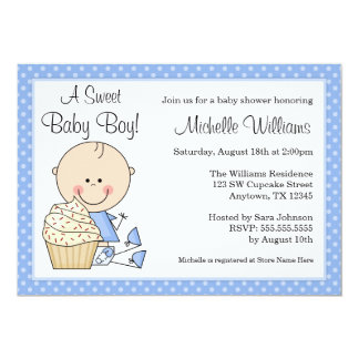 Sweet Cupcake Blue Polka Dot Boy Baby Shower 5x7 Paper Invitation Card
