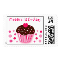 Sweet Cupcake Cherry Birthday Postage Stamps