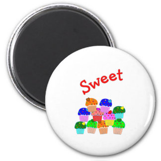 """""""Sweet""""  Cupcake Lovers Gifts 2 Inch Round Magnet"""