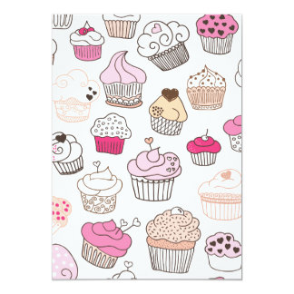 Sweet cupcake pattern invitation (blanco inside)