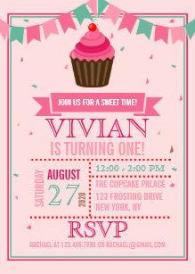Cupcake birthday invitations zazzle sweet cupcake pink and greenfirst birthday party invitation filmwisefo