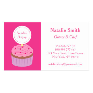 Sweet Cupcake Pink Frosting, Bakery Chef Double-Sided Standard Business Cards (Pack Of 100)