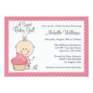 Sweet Cupcake Pink Polka Dot Girl Baby Shower 5x7 Paper Invitation Card