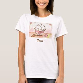 Sweet Cupcake Rose Heart T-Shirt Top