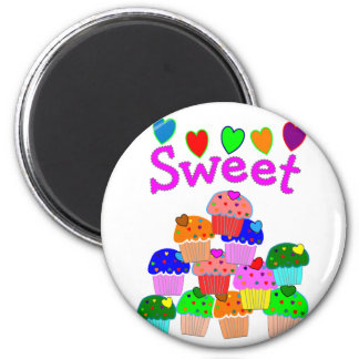 """""""Sweet"""" Cupcake Stack with Bright Hearts 2 Inch Round Magnet"""