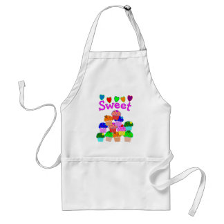 """Sweet"" Cupcake Stack with Bright Hearts Adult Apron"
