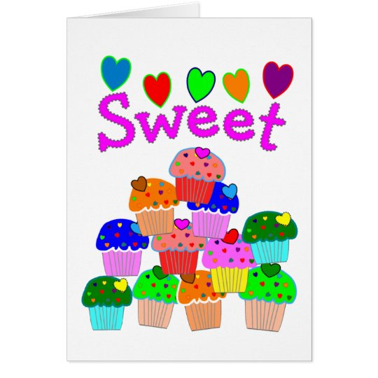 """Sweet"" Cupcake Stack with Bright Hearts Card"